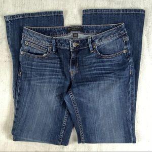 Banana Republic Petites Jeans Size 27/4P Bootcut Flap Pockets Whiskering Fade